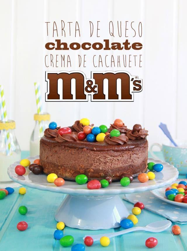 Tarta de queso, chocolate, crema de cacahuete y M&M´s de Dulce Sentimiento.
