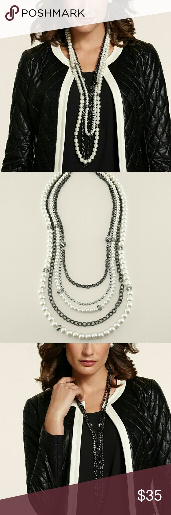 Chicos Olivia Multi Strand Necklace Can be worn two ways as shown in the pictures.   Long statement necklace made with pearls and gunmetal chains.  Simply gorgeous.   Feel free to ask questions and make an offer.?? Be fair though, no low-balling! Chico's Jewelry Necklaces