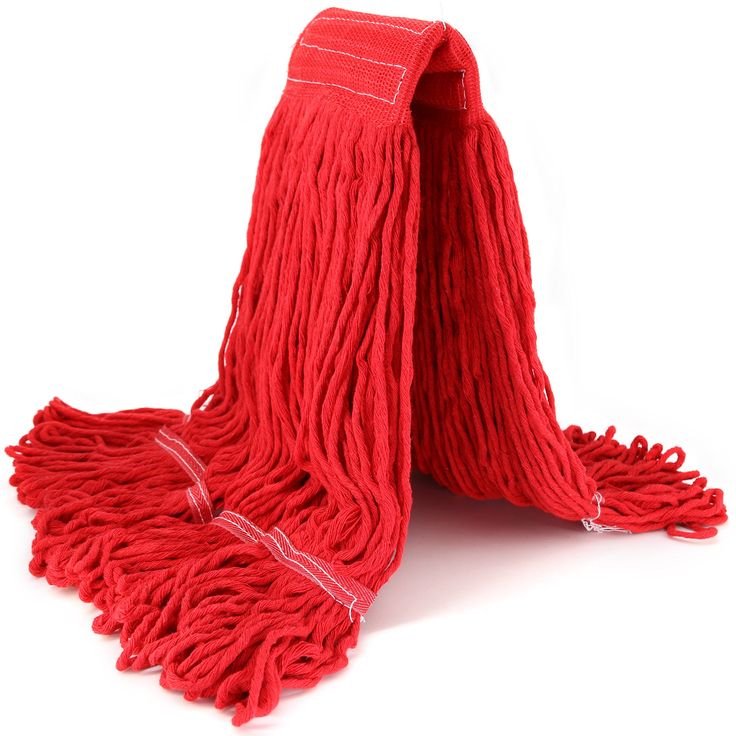 Replacement Mop Head Refill Hand Free Easy Wring Mop Head Heavy Duty Looped-End String Mop Commercial Swinger Mop Head Refill Blend Mop Commercial Or Home Cotton Mop Head (Red)