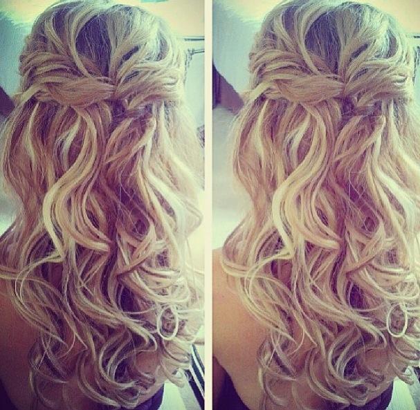 Curly waterfall braided hair