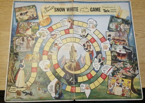 Vintage-Antique-DISNEY-1937-SNOW-WHITE-amp-SEVEN-DWARFS-Game-Tek-Board