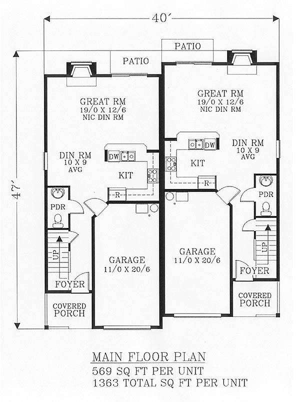 31 best two family house plans images on pinterest for Small duplex house plans 800 sq ft