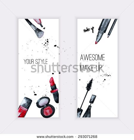 Vector watercolor Glamorous makeup set of  banners with nail polish and lipstick.Creative design for card, web design background, book cover.EPS10.