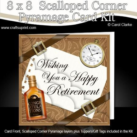 A lovely design with whisky, pocket watch, twill ribbons and gold buckles on a paisley background plus a Retirement Greeting.    8 x 8 Retirement Kit with Scalloped Corners http://www.craftsuprint.com/card-making/kits/8x8-various/319915-8-x-8-retirement-kit-with-scalloped-corners.cfm?r=380405