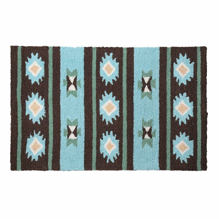 "Brown And Teal Southwestern Blanket Accent Rug - 22"" X 34"""