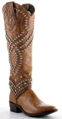 studded cowboy boots.