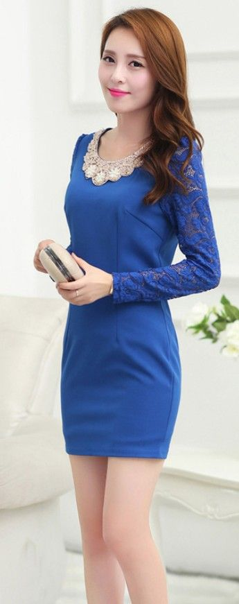 Mini Dress Lace Sleeves Diamond Collar YRB0313 £16.70