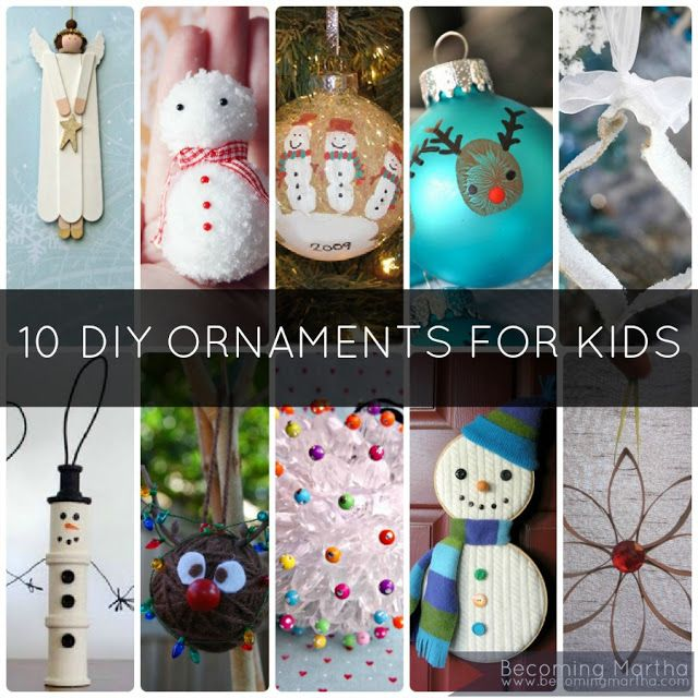 10 DIY Kids Christmas Ornaments to Make at Home - Thumbprint Rudolph and Handprint Snowman are my favorites.