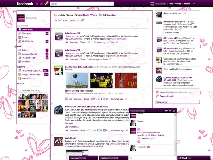 Purpled Out Facebook Purple Pink Theme