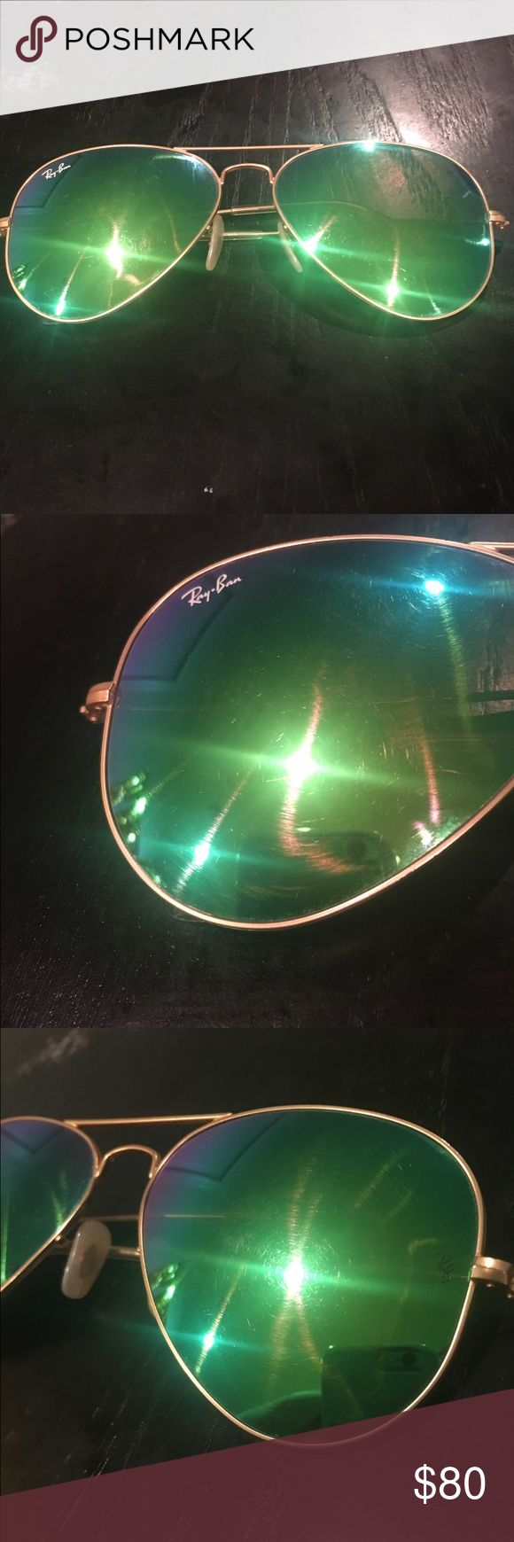 Ray ban aviators reflective lenses Rayban aviators used! Few stratches to lenses Ray-Ban Accessories Sunglasses