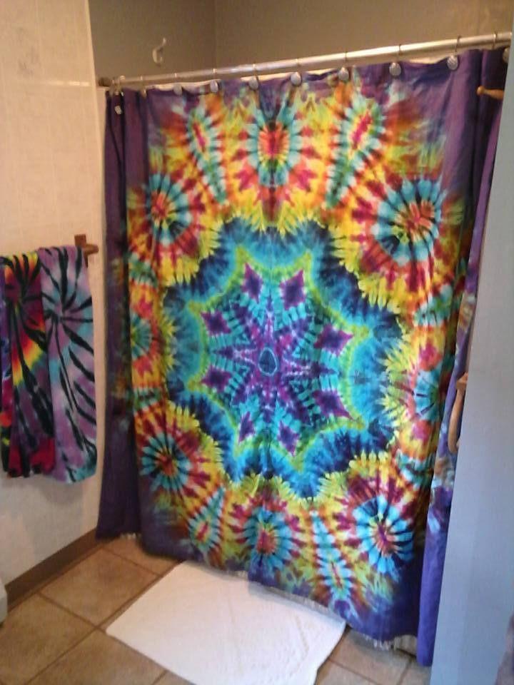 Tie Dyed Shower Curtain Tie Dye Bedding Tie Dye Diy Tie Dye Crafts