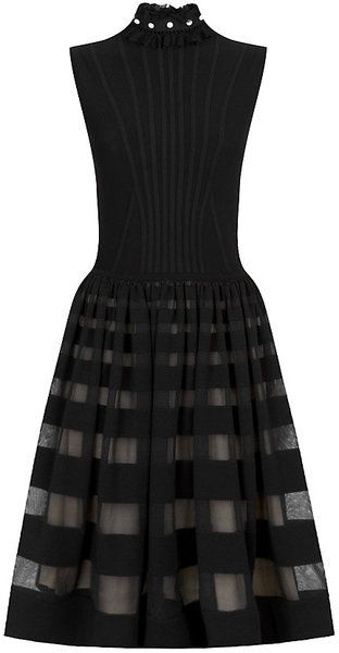WOMEN'S CLOTHING DRESSES FORMAL DRESSES ALEXANDER MCQUEEN ALEXANDER MCQUEEN Black Knitted Ruff Dress Detachable ruff collar with faux pearl embellishment, vertical ribbing through front, gathered full skirt with semi-sheer striped panels, keyhole with button fastening at back neck, partial silk lining, fabric 1: 92% wool, 8% polyamide; fabric 2: 89% wool, 11% silk, made in italy.  $3191 at Harrods