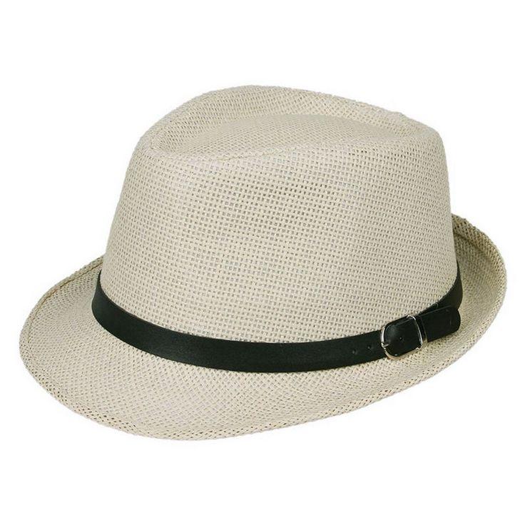 Straw Fedora Panama Hat Short Brim Sun Cap with Leather Belt