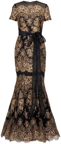 CARLOINA HERRERA Gold Lace Gown