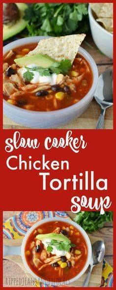 Slow Cooker Chicken Slow Cooker Chicken Tortilla Soup|Ripped Jeans and Bifocals |Taco Tuesday|Tortilla soup|easy recipes|weeknight recipes|crockpot recipes|slow cooker recipes|gluten free recipes|soup recipes|soup night|sports night meals|meals for busy moms|family meals|dinner ideas| Recipe : http://ift.tt/1hGiZgA And @ItsNutella  http://ift.tt/2v8iUYW  Slow Cooker Chicken Slow Cooker Chicken Tortilla Soup|Ripped...