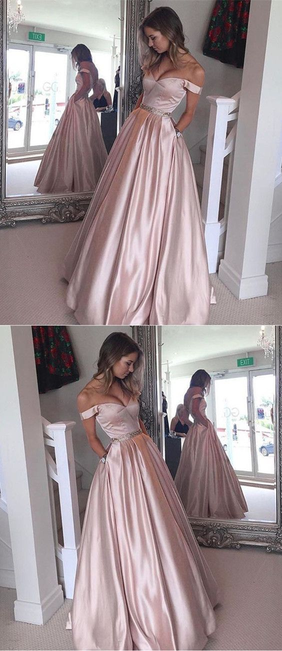4914b18c7f Nude Pink Satin Off The Shoulder Prom Long Dresses 2018 V-neck Floor Length Evening  Gowns