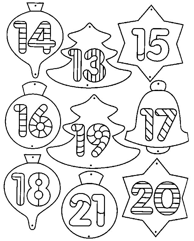 coloriage Calendrier de l'avent (feuille n°2)