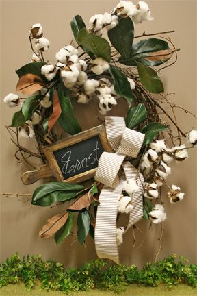 magnolia leaves, cotton and a personalized chalkboard
