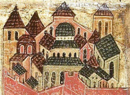 Detailed view: T166. Entry into Jerusalem- exhibited at the Temple Gallery, specialists in Russian icons