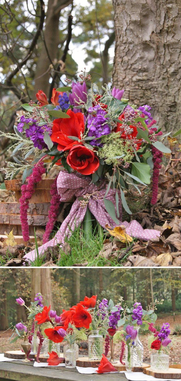 Woodland wedding photoshoot with hand-tied bridal bouquet and eclectic mix of reclaimed containers for table centres. Red amaryllis, red roses, purple stock, purple statice, purple tulips, white ammi, red alstroemeria, mimosa, seeded eucalyptus, and trailing red amaranthus. | Florissimo - Flowers for weddings, events and businesses in Shropshire and beyond