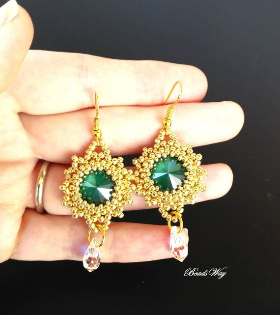 Earrings of beads and Cristall di BeadsWay su Etsy