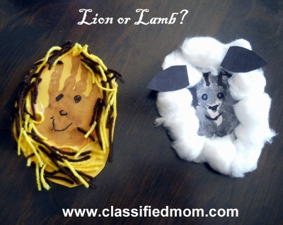 spring/march lion/lamb toddler craft
