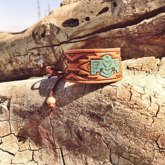 The Thunderbird Cowgirl Cuff leather cuff by MaverickandMojave