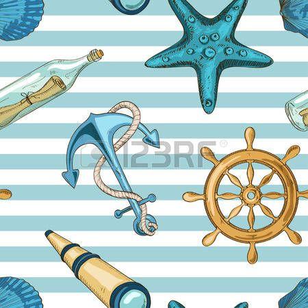 N�utico padr�o sem emenda listrado da �ncora, roda, estrelas do mar, conchas, luneta e uma garrafa com mensagem photo