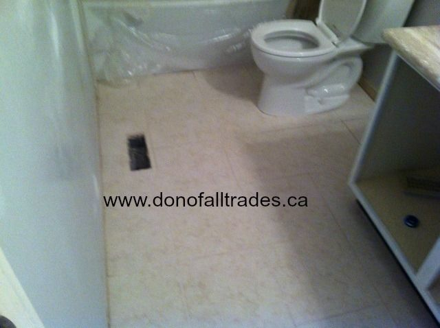 Install of counter top, sink, faucet, ceramic floor tile and toilet in one of these bathrooms. Progress is coming along nicely and out clients are loving it.