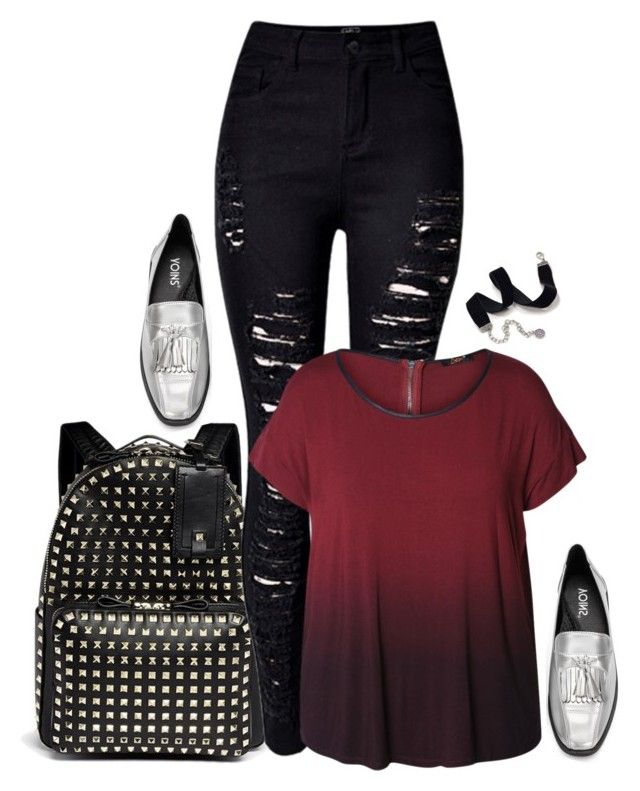 """Emo glam.  // School Outfit"" by rashana ❤ liked on Polyvore featuring Valentino, WithChic, Dex, Sweet Romance, SchoolOutfit2k16 and plus size clothing"