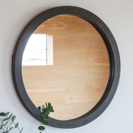 Abra Modern Round Wall Mirror Concrete | Contemporary Wall Mirrors