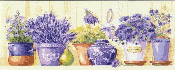 Collection d'Art:9.004 -            CANVAS ONLY - Penelope White Canvas, colour printed design. Canvas size 35cm X 80cm with DMC thread recommendations.