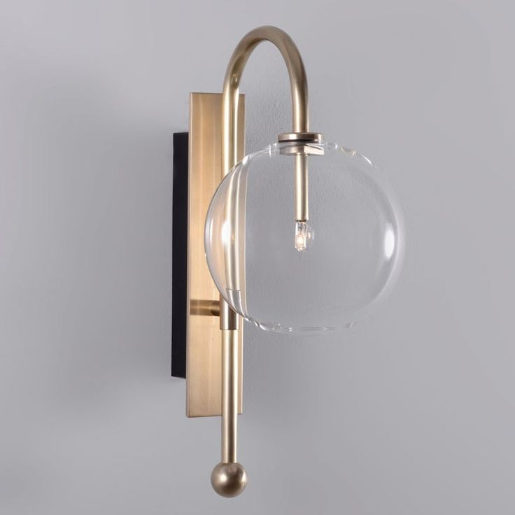 Modern Wall Sconce Made Entirely Of Solid Brass And Mouth Blown Globes.