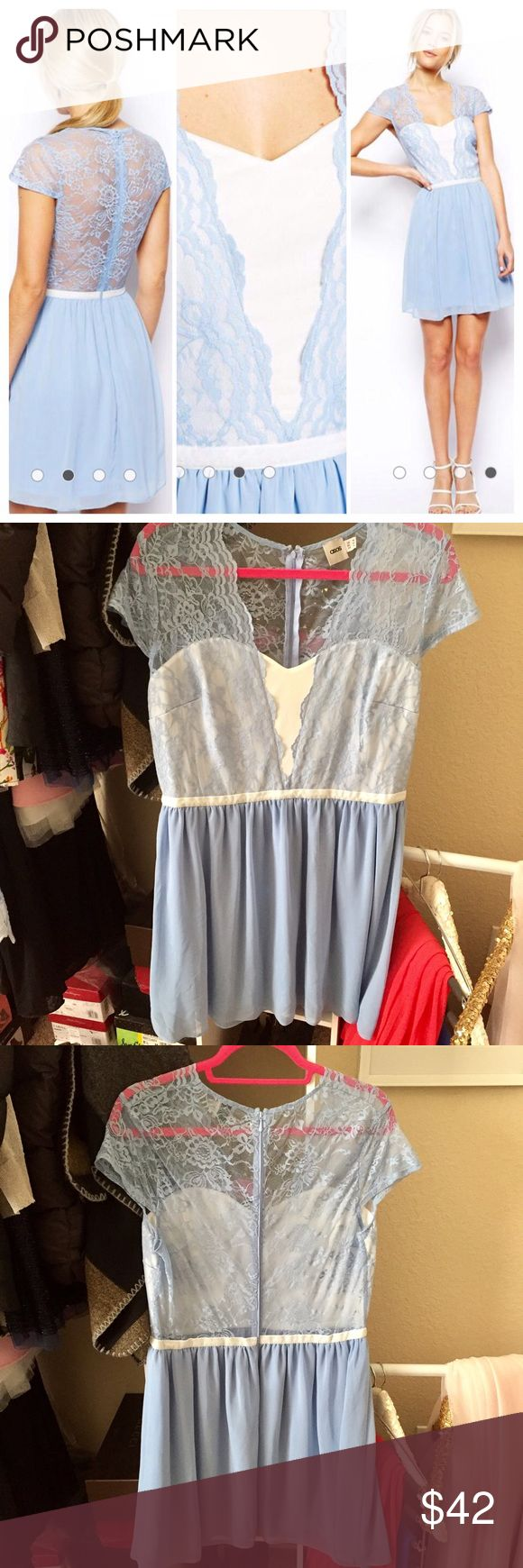 💖 Beautiful Lace Skater Dress 💖 Like New (only worn a couple of times) ✨ All over delicate soft blue lace layer. Sweetheart neckline with contrast trim waistband ✨ Gentle pleading to skirt and zip back closure ✨ Size fits L/XL ✨ Can be shipped within 24 hrs 📬 ✨ 🚫 Trades/🅿️ ASOS Dresses