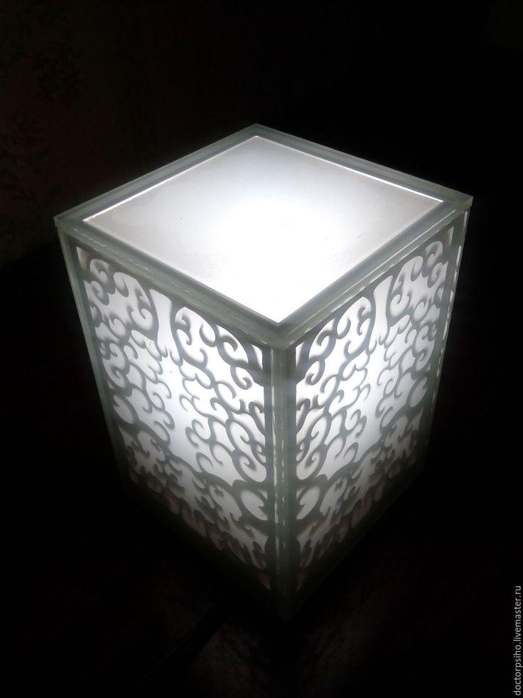 Купить Настольный светильник, ночник - белый, светильник, ночник, резные узоры, матовое стекло, туман