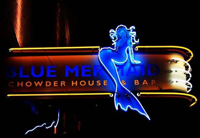Blue Mermaid Chowder House Neon Sign