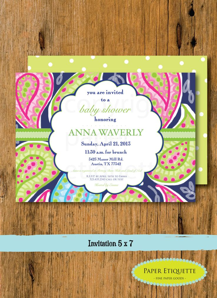 Paisley Gender Neutral Navy and Green Baby Shower, Sprinkle or Bridal Shower Invitation -Preppy Paisley Baby Shower Invite Green Baby Shower by PaperEtiquette on Etsy