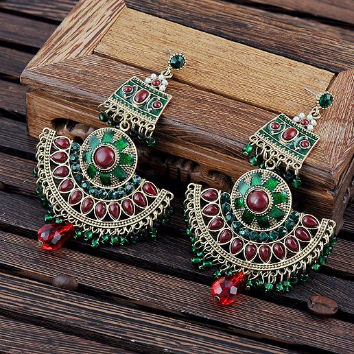 Vintage bohemian teardrop stone seed beads drop earrings simulated-pearl ethnic jewelry brincos de prata free shipping