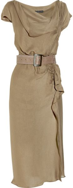 Донна Каран Нью-Йорк Асимметричная Ruched Креп Платье в Браун (мышь)