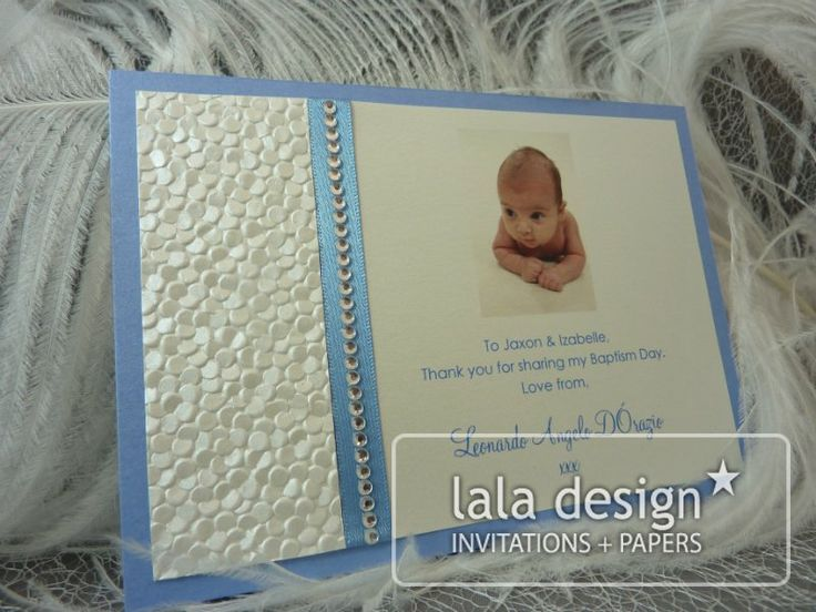 Blue and silver thank you card