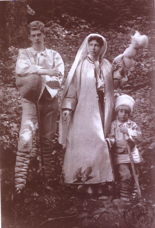 Crown Prince Carol (future King Carol II), Queen Marie and Prince Nicholas of Romania