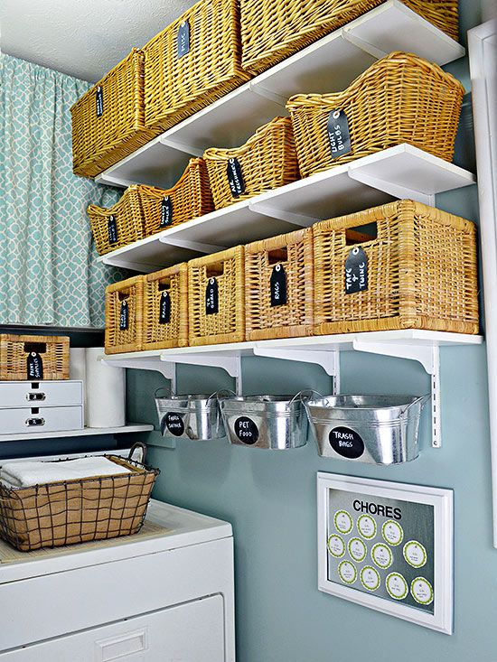 Could do this in the laundry room. Have a basket for each individuals clothes, at the end of the day, grab your basket, fold your clothes, and put them away.