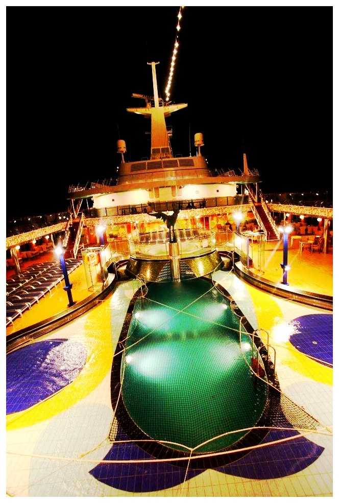 Night Time Lido Deck pool on board Carnival Spirit
