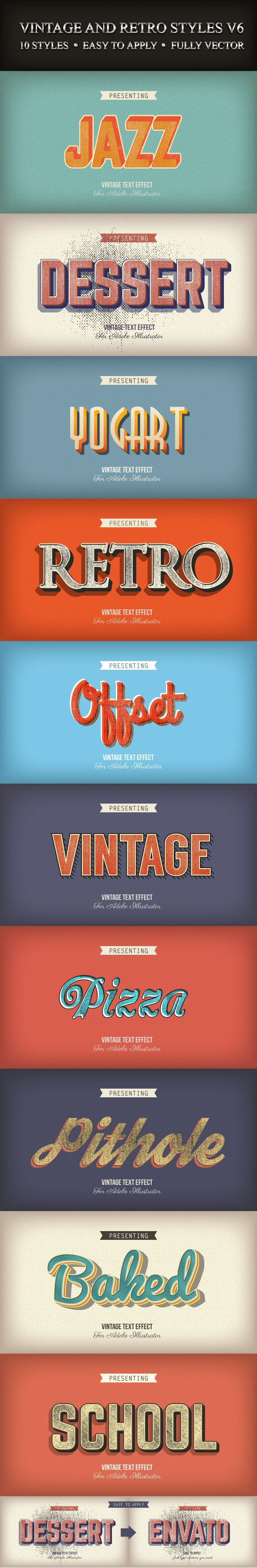 Vintage and Retro Styles for Adobe Illustrator #design #ai Download: http://graphicriver.net/item/vintage-and-retro-styles-v6/9184160?ref=ksioks
