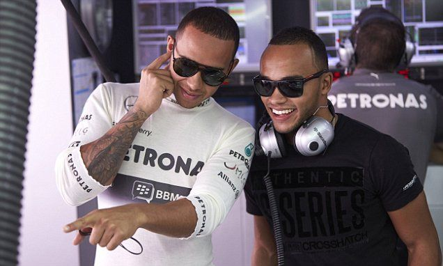 Lewis Hamilton is backseat driver for younger brother Nicolas #DailyMail