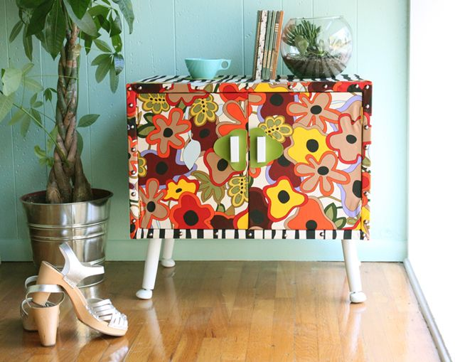 Upcycled cabinet (by justina blakeney): Diy Ideas, Decor, Paintings Furniture, Color Flower, Side Tables, Paintings Cabinets, Paintings Flower, End Tables, Justina Blakeney