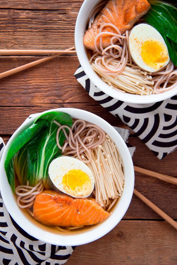 salmon soba soup (with enoki mushrooms, bok choy, and egg)
