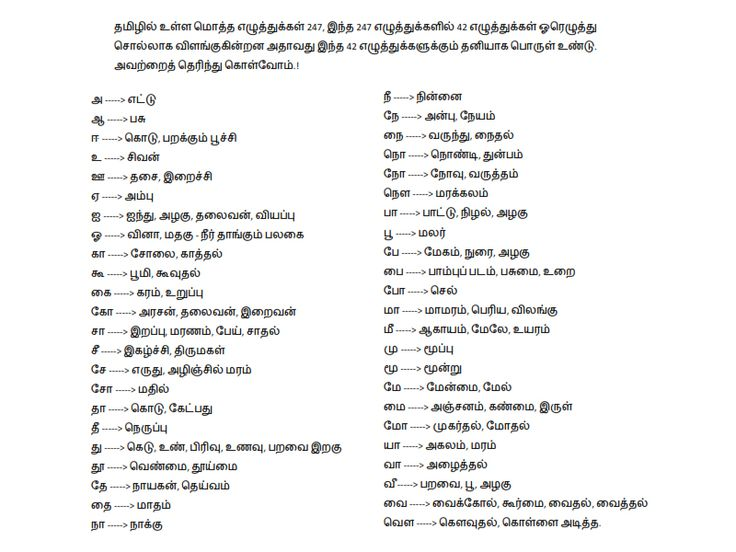 List Of One Letter Words In Tamil