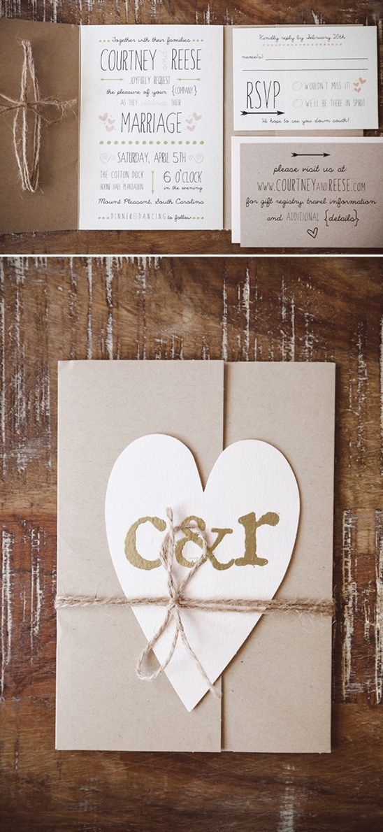 rustic charm hearts wedding stationery