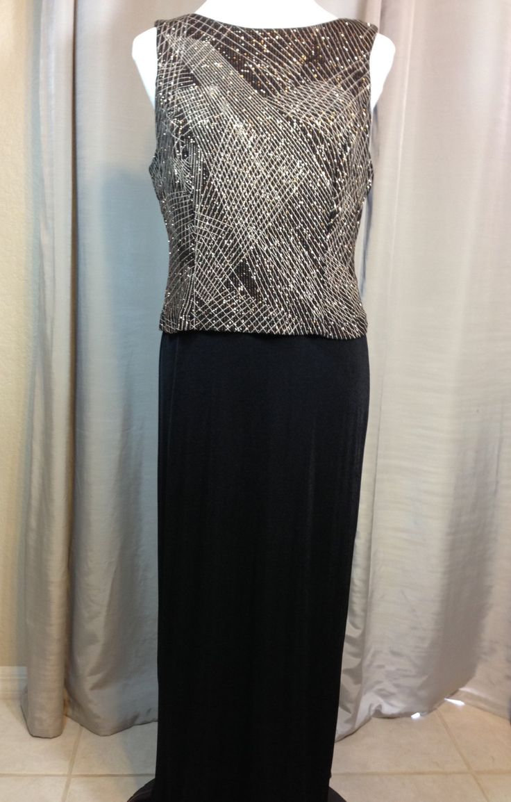 Vintage Black Knit and Gold Metallic Long Dress by Social Circles Ladies Size 14 Petite by Oldtonewjewels on Etsy